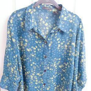 Liz Claiborne Button Front Blouse - Teal - Size 1X